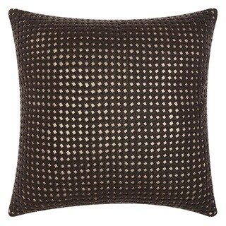 Mina Victory Natural Hide Woven Metallic Brown/ Gold 20 x 20-inch Throw Pillow by Nourison