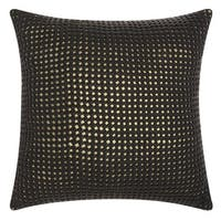 Mina Victory Natural Hide Woven Metallic Black/ Gold 20 x 20-inch Throw Pillow by Nourison