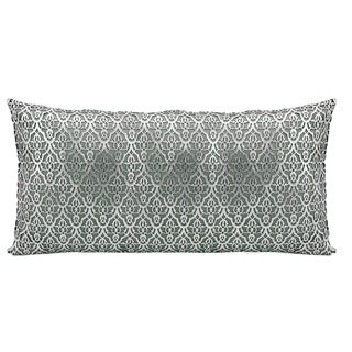 Mina Victory Natural Hide Moorish Leaves Silver/ White 12 x 24-inch Throw Pillow by Nourison