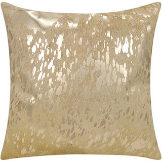 Mina Victory Natural Hide Metallic Splash Beige/ Gold 18 x 18-inch Throw Pillow by Nourison