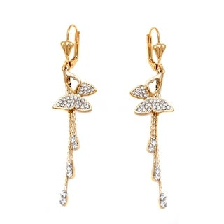 Women's Gold-plated Crystal Butterfly and Tassel Drop Earrings