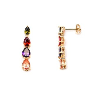 Gold Plated Gold and Multi Color Teardrop Link Drop Earrings