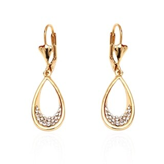Goldplated Gold and White Open Teardrop Drop Earrings