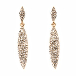 Swavorski Elements 18K Gold Plated Gold and White Oval Drop Earrings