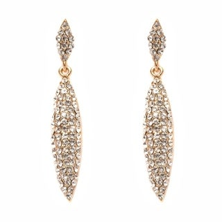 s Gold Plated Gold and White Oval Drop Earrings