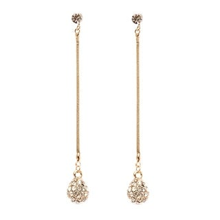 Gold Plated Gold and White Disco Ball Drop Earrings