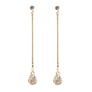 18K Gold Plated Gold and White Swarovski Elements Disco Ball Drop Earrings