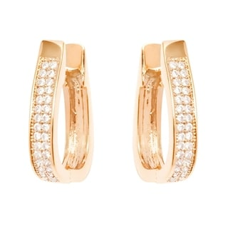 18K Yellow Gold-plated Brass and Swarovski Elements Hoop Earrings