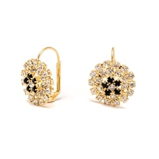 Goldplated Brass Black and White Flower Huggie Earrings