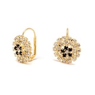 Goldplated Brass Black and White Flower Saddleback Earrings