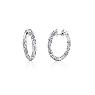 Rhodium Plated Pave Crystal Hoop Earrings