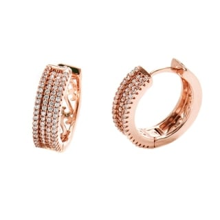 Gold-plated Rose Gold Plated and 4-row Huggie-hoop Earrings