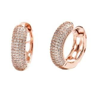 18K Gold Plated Rose Gold and Crystal 2mm Huggie-Hoop Earrings