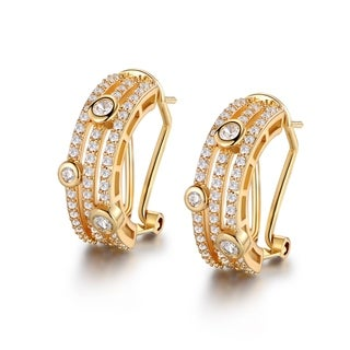Peermont Jewelry Gold Plated and Crystal Half Hoop Earrings