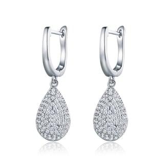 18K White Gold Teardrop Earrings