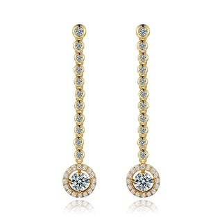 Yellow Gold Plated Brass and Crystal Drop Earrings
