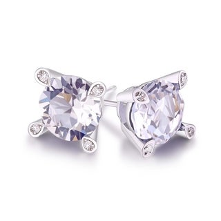 18k White Gold-plated Brass Swarovski Elements 7-millimeter Stud Earrings