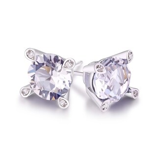 18k White Gold-plated Brass 7-millimeter Stud Earrings