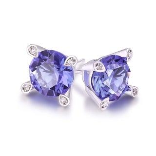 Peermont Jewelry 18k White Gold-plated Amethyst Stud Earrings