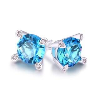 Rhodium Plated Aqua Crystal Stud Earrings