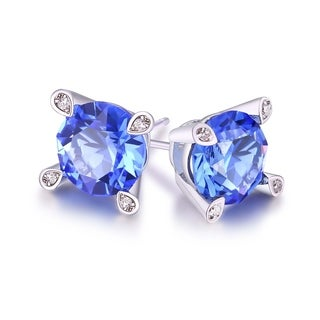 18k White Goldplated Sapphire 7-millimeter Stud Earrings