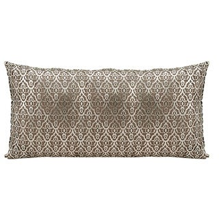 Mina Victory Natural Hide Moorish Leaves Gold/ Beige 12 x 24-inch Throw Pillow by Nourison