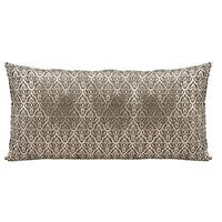 Mina Victory Natural Hide Moorish Leaves Gold/ Beige Throw Pillow by Nourison (12-Inch X 24-Inch)