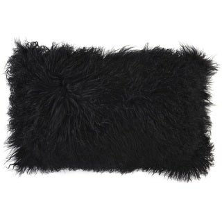Mina Victory Couture Fur Black Throw Pillow (14-inch x 24-inch) by Nourison