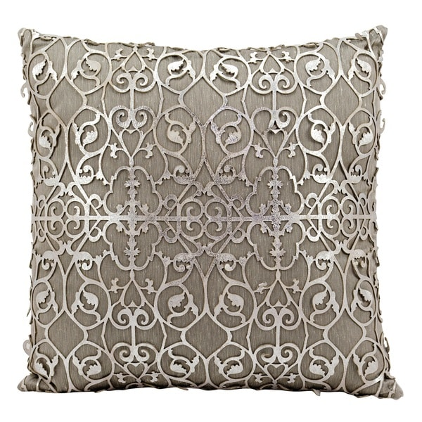 Mina Victory Natural Hide Saray Laser Cut Silver/ WhiteThrow Pillow by Nourison (18-Inch X 18-Inch)