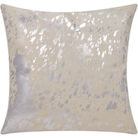 Mina Victory Natural Hide Metallic Splash White/ Silver 18 x 18-inch Throw Pillow by Nourison