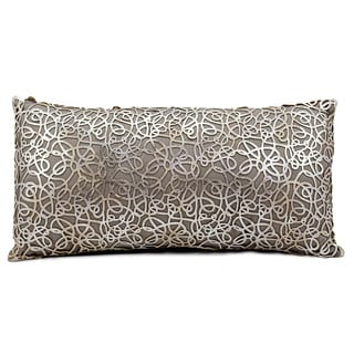 Mina Victory Natural Hide Pinko Laser Cut Silver/ Beige 12 x 24-inch Throw Pillow by Nourison