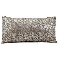 Mina Victory Natural Hide Pinko Laser Cut Silver/ Beige Throw Pillow by Nourison (12-Inch X 24-Inch)