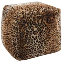 Mina Victory Faux Fur Brown Cube (16-inch x 16-inch) by Nourison