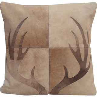 Mina Victory Dallas Deer Antlers Beige Throw Pillow (20-inch x 20-inch) by Nourison