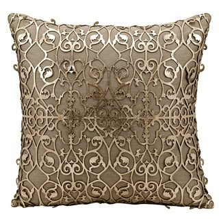 Mina Victory Natural Hide Saray Laser Cut Gold/ BeigeThrow Pillow by Nourison (18-Inch X 18-Inch)