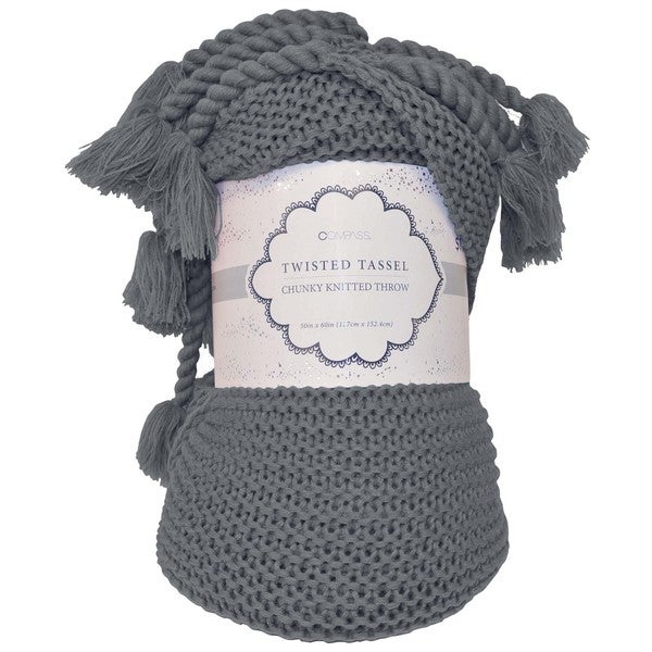 Artistic Linen 'Twisted Tassel' Cable Knitted Throw with Chunky Braided Tassels