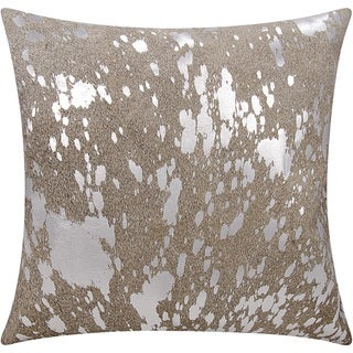 Mina Victory Natural Hide Metallic Splash Grey/ SilverThrow Pillow by Nourison (18-Inch X 18-Inch)
