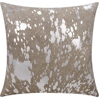 Mina Victory Natural Hide Metallic Splash Grey/ Silver 18 x 18-inch Throw Pillow by Nourison