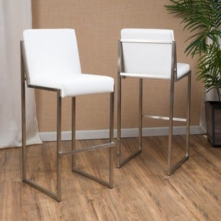 Christopher Knight Home Vasilus Bonded Leather Barstool (Set of 2) in White (As Is Item)