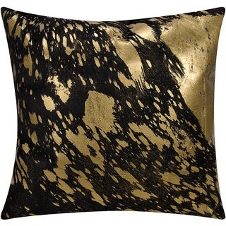 Mina Victory Natural Hide Metallic Splash Black/ Gold 18 x 18-inch Throw Pillow by Nourison