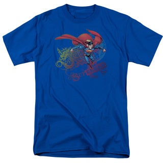 Superman/Cool Word Supes Short Sleeve Adult T-Shirt 18/1 in Royal