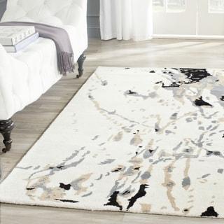 Safavieh Handmade Bella Modern Abstract Ivory / Grey Wool Rug (2' 6 x 4')