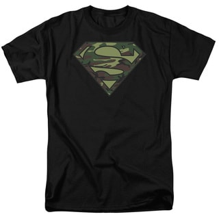 Superman/Camo Logo Short Sleeve Adult T-Shirt 18/1 in Black