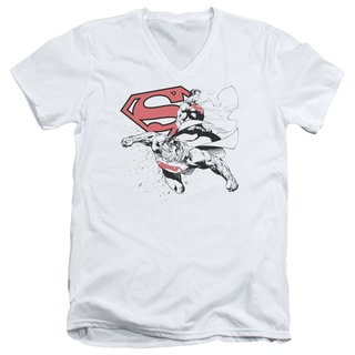 Superman/Double The Power Short Sleeve Adult T-Shirt V-Neck in White