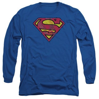Superman/Action Shield Long Sleeve Adult T-Shirt 18/1 in Royal