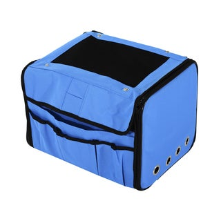Pawhut Blue Fabric Collapsible Folding Soft Portable Pet Crate Carrier