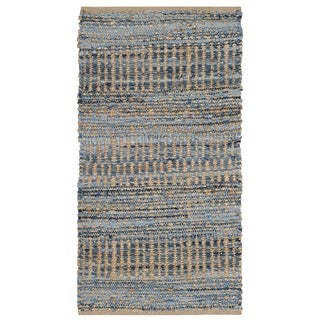 Safavieh Hand-Woven Cape Cod Natural / Blue Jute Rug (2' x 4')