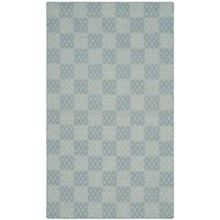 Safavieh Hand-woven Checker Kilim Turquoise Wool Rug (2' 6 x 4')