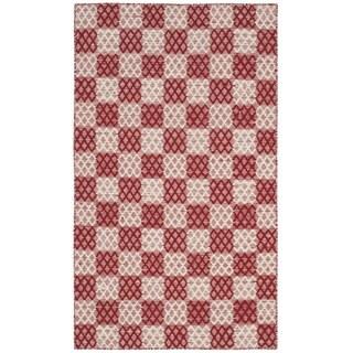 Safavieh Hand-woven Checker Kilim Red Wool Rug (2' 6 x 4')