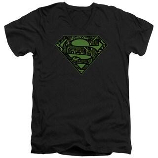 Superman/Circuits Shield Short Sleeve Adult T-Shirt V-Neck in Black